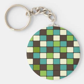 Pretty Blue Green Brown Cream Mosaic Tile Pattern Keychain