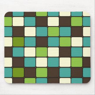 Pretty Blue Green Brown Cream Mosaic Tile Pattern Mouse Pad