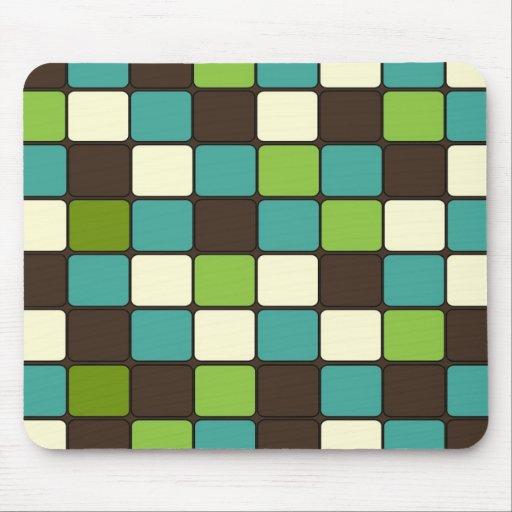 Pretty Blue Green Brown Cream Mosaic Tile Pattern Mousepad