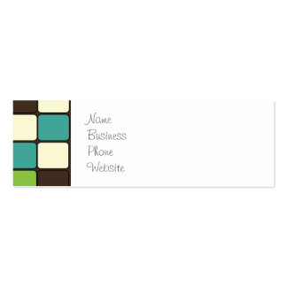 Pretty Blue Green Brown Cream Mosaic Tile Pattern Pack Of Skinny Business Cards