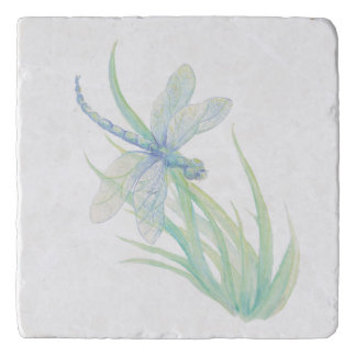 Pretty Blue Green Dragonfly Watercolor Art Trivet