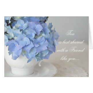 Pretty Blue Hydrangea and Tea Cup Greeting Cards
