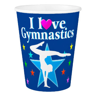 PRETTY BLUE I LOVE GYMNASTICS PARTY PAPER CUPS