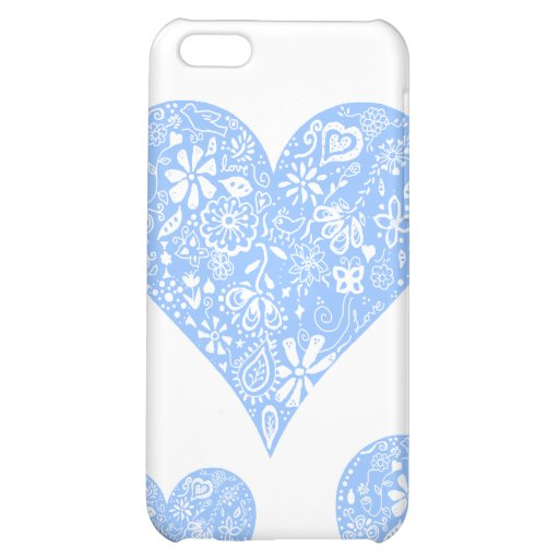 Pretty Blue Lace Heart with delicate white detail Case For iPhone 5C