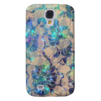 Pretty Blue Lace Roses Samsung Galaxy S4 Covers