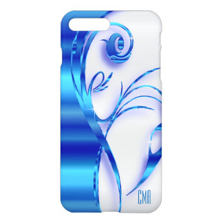 Pretty Blue Metallic and White | Monogram iPhone 8 Plus/7 Plus Case