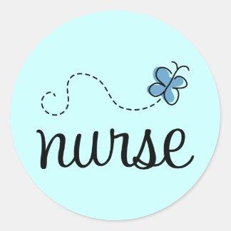 Pretty Blue Nurse Sticker Round Sticker