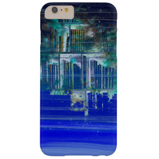 Pretty Blue Paint Splotch Fantasy Book Shelf Barely There iPhone 6 Plus Case