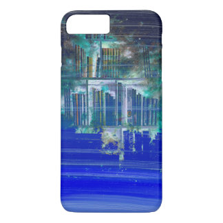 Pretty Blue Paint Splotch Fantasy Book Shelf iPhone 7 Plus Case