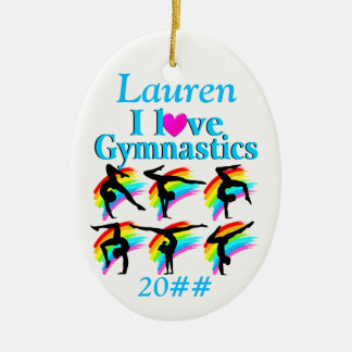 PRETTY BLUE PERSONALIZED GYMNASTICS ORNAMENT
