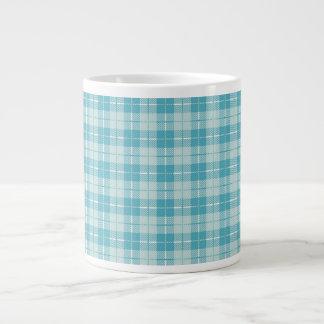 Pretty Blue Plaid 20 Oz Large Ceramic Coffee Mug