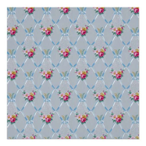 Pretty Blue Ribbons Rose Floral Vintage Wallpaper Poster