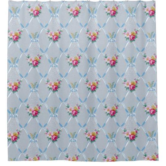 Pretty Blue Ribbons Rose Floral Vintage Wallpaper Shower