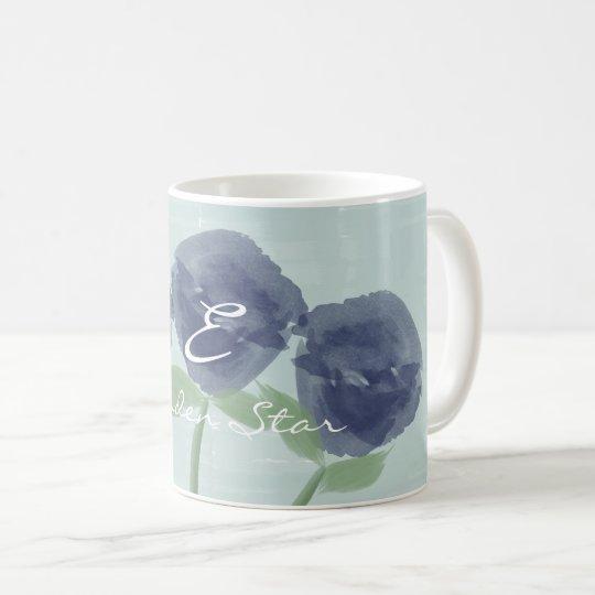 Pretty Blue Roses Garden Star Monogrammed Mug