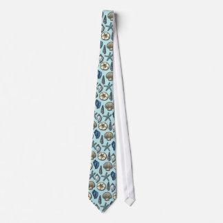 Pretty Blue Shell Starfish Sea Pattern Tie