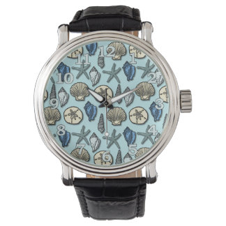 Pretty Blue Shell Starfish Sea Pattern Watch