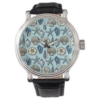 Pretty Blue Shell Starfish Sea Pattern Watches
