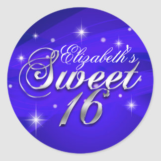 Pretty Blue Sparkle Sweet Sixteen Sticker
