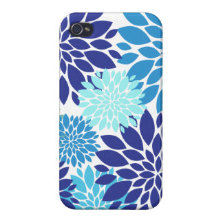 Pretty Blue Teal Turquoise Flowers Floral Art iPhone 4 Covers