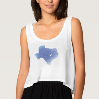 Pretty blue Texas watercolor map Tank Top