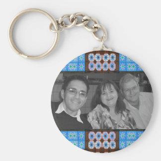 pretty blue tile photoframe key chains