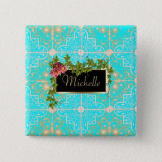 Pretty Blue Tile Rosevine Nameplate 15 Cm Square Badge