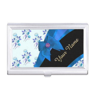 Pretty blue vintage floral flower pattern business card holder