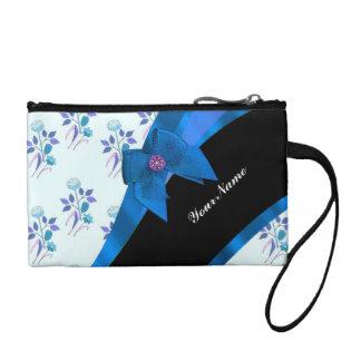 Pretty blue vintage floral flower pattern coin purse