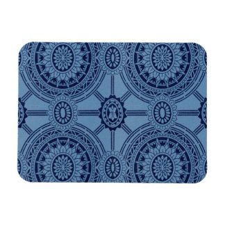 Pretty Blue Vintage Geometric Circles Rectangular Photo Magnet