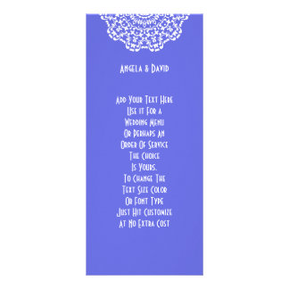 Pretty Blue White Lacy Pattern Peronalized Rack Card
