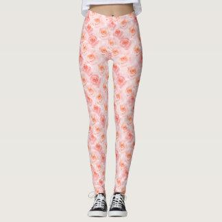 Pretty Blush Pink Watercolor Roses Leggings