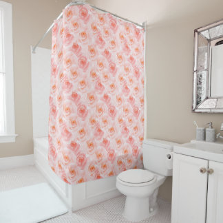 Pretty Blush Pink Watercolor Roses Shower Curtain