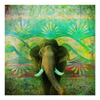 Pretty Bohemian Elephant Turquoise Tribal Pattern Poster