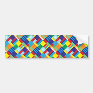 Pretty Bold Colorful Diagonal Quilt Pattern Bumper Sticker