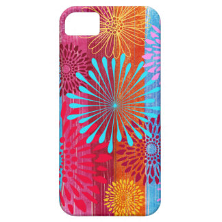 Pretty Bold Colorful Flower Bursts on Wide Stripes Barely There iPhone 5 Case