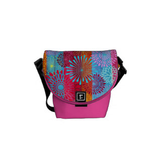 Pretty Bold Colorful Flower Bursts on Wide Stripes Courier Bags