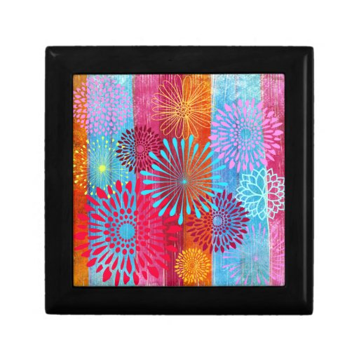 Pretty Bold Colorful Flower Bursts on Wide Stripes Jewelry Boxes