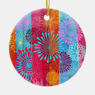 Pretty Bold Colorful Flower Bursts on Wide Stripes Round Ceramic Decoration