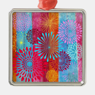 Pretty Bold Colorful Flower Bursts on Wide Stripes Silver-Colored Square Decoration