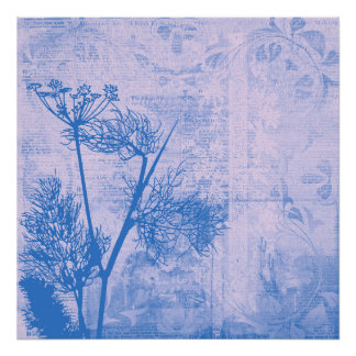 Pretty Botanical Blue Dandelion Seed Silhouette Poster