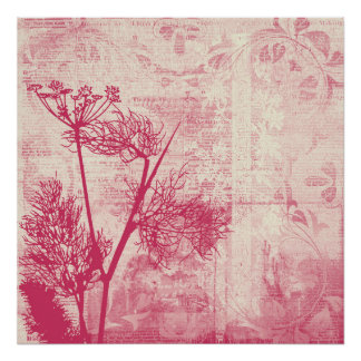 Pretty Botanical Pink Dandelion Seed Silhouette Poster