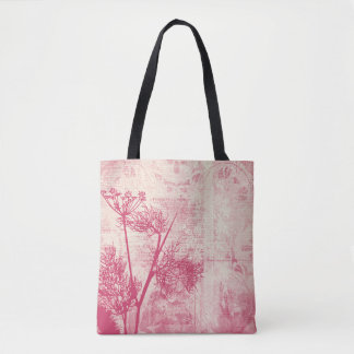 Pretty Botanical Pink Dandelion Seed Silhouette Tote Bag