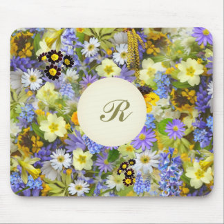 Pretty Botanical Wildflowers Monogrammed Mouse Mat