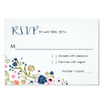 Pretty Bouquet Floral | R S V P Reply Card Navy 9 Cm X 13 Cm Invitation Card