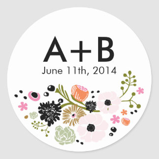 Pretty Bouquet Floral Wedding Circle Sticker