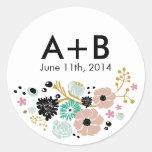 Pretty Bouquet Floral Wedding Circle Sticker Blush