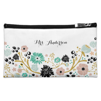 Pretty Bouquet Floral Wedding Cosmetic Bag Blush