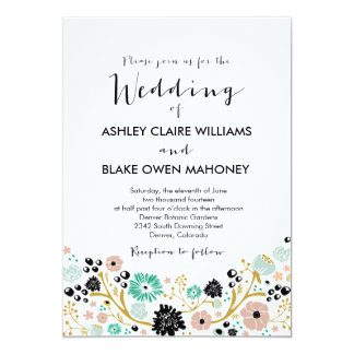 Pretty Bouquet Floral Wedding Invitation Blush