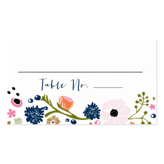 Pretty Bouquet Floral Wedding Table No. Card Navy Pack Of Standard Business Cards