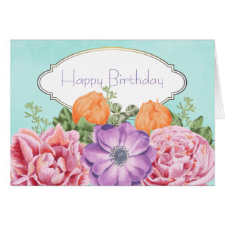 Pretty Bouquet Watercolor Flowers Happy Birthday Card
